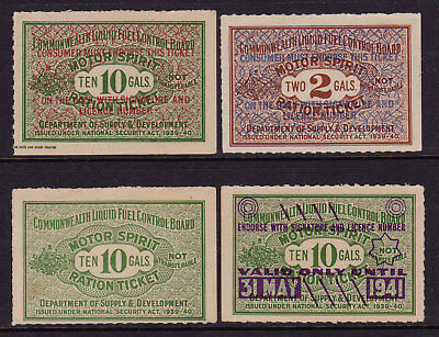 Motor Spirits Ration Tickets  1939/41  Aust  (4)