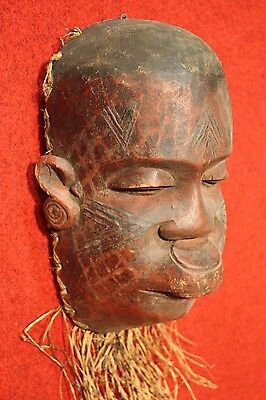 BELLA SCULPTURE AFRICAN WOOD PAINTED STRAW COLLECTIBLES FIRST '900 (H 30 cm)