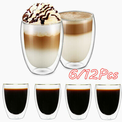 6/12pcs 350ml Glasses Double Wall Thermal Insulated Cups Coffee Tea Glassware