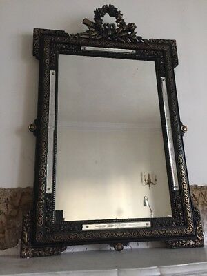 Antique French Louis XV Crested Painted Mirror - Stunning Original Glass