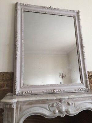 Large Antique French Painted Mirror - Original MERCURY Glass - Super Condition