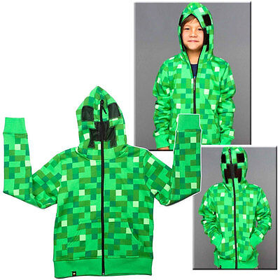 UK STOCK Minecraft Creeper  Kids Boys Youth Hoodie Zip-Up Coat Sweater Jacket