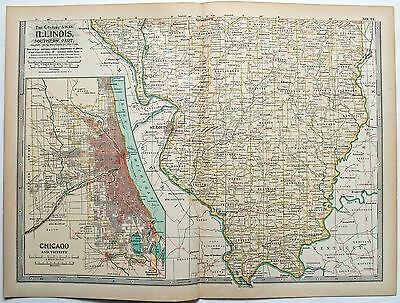 1897 Map Of Southern Illinois By The Century Company Original Antique