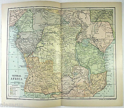 Original 1895 Map of Central Africa in the Colonial Era