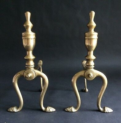 Fine Pair Of Antique Brass Fire Dogs