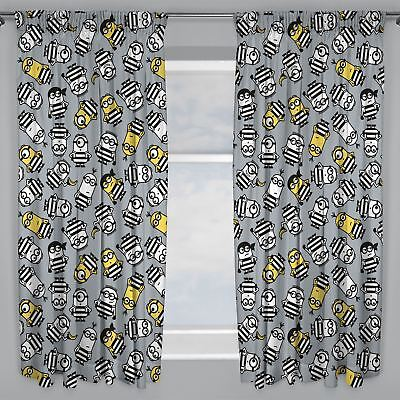 "DESPICABLE ME MINIONS JAILBIRD CURTAINS CHILDRENS BEDROOM 66"" x 54"""