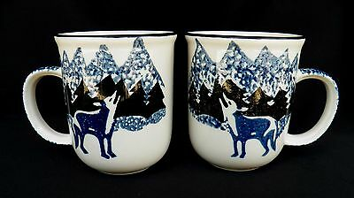 2 Tienshan Folk Craft Wolf Mugs