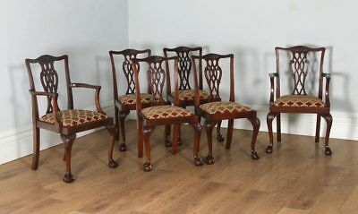 Antique English Set 6 Six Georgian Chippendale Style Mahogany Dining Chairs