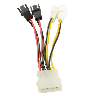 Type D 4 Pin Female to 5V/12V PC CPU Fan Adapter Cable Cooling Fan Line GBNG