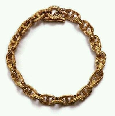Monet Chunky Gold Coloured Metal Chain Choker Necklace • Vintage 1980s
