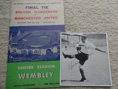 1958 Fa Cup Final - Bolton Wanderers  v  Manchester United ( Signatures )