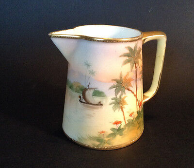 Nippon Noritake Cream Pitcher - Hand Painted Boat With Palms - Gold Beading