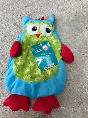 Country warmers hot water bottle with super soft novelty Owl cover blue green