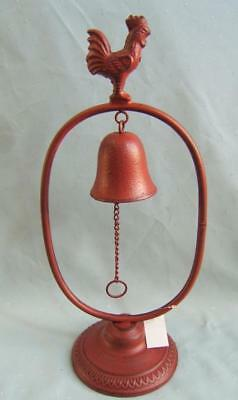 Rustic Free Standing Rooster Dinner Bell Red* Cast Iron *  New