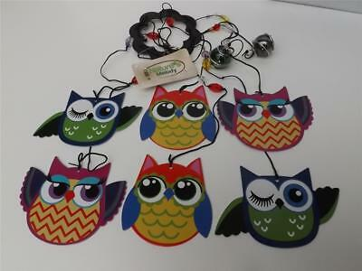 Nature's Melody Gorgeous**metal Owl Wind Chime* 6 Bright Colored Owls New **