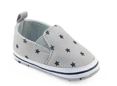 Newborn Baby Boy Pre Walker Soft Sole Grey Pram Shoes Toddler Trainers 0-18 M