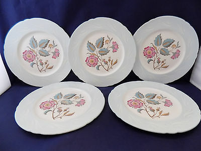 Shelley Floral Pattern, Pale Blue Rim Set Of 5 Plates, 8''