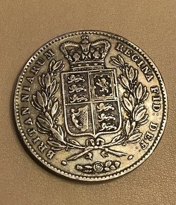 Victoria Young Head Crown 1844 Nice Silver Coin.