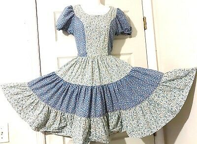 Square Dance Dress Blue And White With Tiny Colorful Flowers S/m