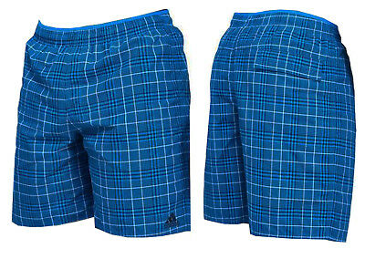 Men`s Adidas Blue Check Print Swimming Trunk Surf Board Leisure Swim Wear Shorts