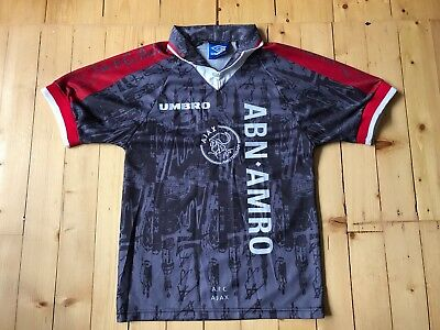 Ajax Away Football Shirt 1996 1997 96 97 Dutch Umbro Grey Red Kluivert Small