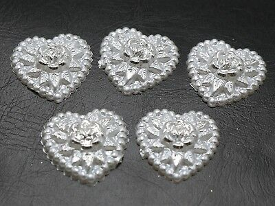 50 Pure White Acrylic Pearl Flatback Heart Cabochons with Silver Flower 18mm