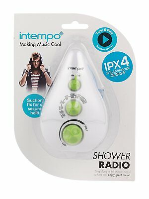 Intempo EE1459GREEN Teardrop Shower Radio, Dual Band AM/FM, Assorted Colour Gift