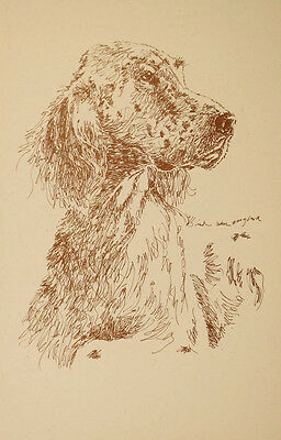 English Setter Dog Art Print #37 Stephen Kline will draw your dogs name free.