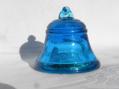 Vintage Telephone Pioneers of America Bell-Shaped Blue Glass Paperweight