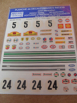 Rare Dinky/scalextric Etc Decals French Ref.839 Edition Mint Ex Shop Stock