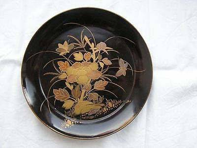 Antique Japanese lacquer plate 1860-80 Edo/Meiji handpainted #3835