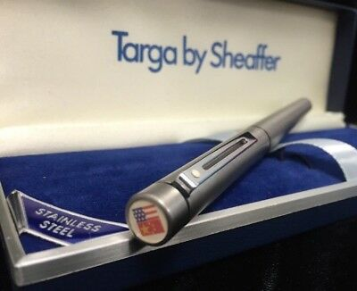 Vintage Targa by Sheaffer Fountain Pen Stainless Steel USA & China Flag End Cap