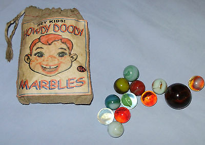 Extremely Rare 1950's Howdy Doody Marble Bag Set