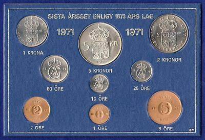 Sweden, 1971 Uncirculated Set, 9 Coins, 5 Kronor to 1 Ore (Ref. t0871)