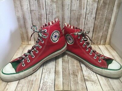 CONVERSE ALL STAR Sneakers Men's10 CHRISTMAS JINGLE BELLS Canvas Plaid Laces VTG
