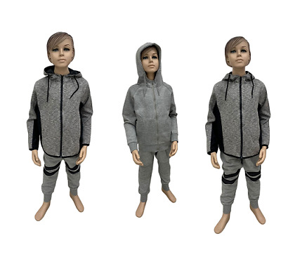 New BOYS KIDS GIRLS TRACK SUIT SET FLEECE HOOD TOP BOTTOMS JOGGING JOGGERS GYM