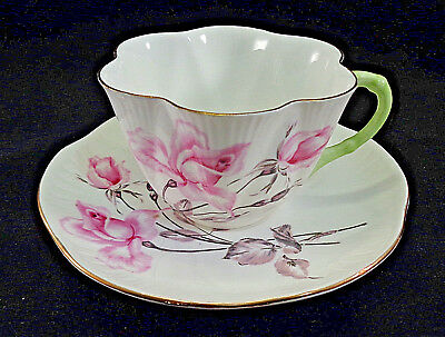Vintage Shelley China Pink Rose Roses Cup & Saucer