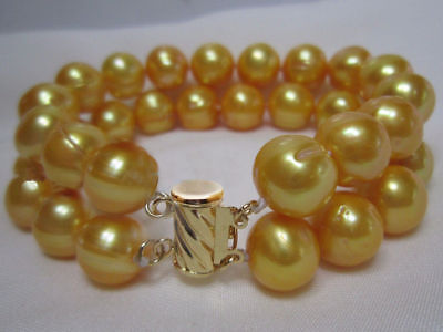 2 row natural AAA 11-12MM south sea golden pearl bracelet 14K yellow gold clasp
