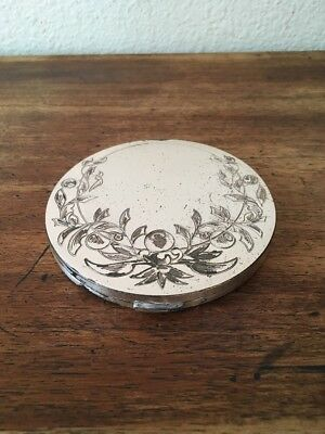 Antique Lady Pompadour Vanity Powder Compact With Mirror. Xl Rare Find!