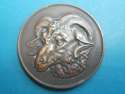 """A very nice French Art Nouveau era solid bronze """"Animal"""" goat medal by A.Desaiue"""