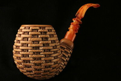 Giant Basket Hand Carved Block Meerschaum Pipe in a fitted CASE 7445