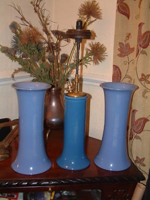 PAIR of BRETBY BLUE VASES #1938K Loft Find  THE TILLEY LAMP VL 1 IS NOT INCLUDED
