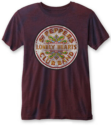 The Beatles 'Sgt Pepper Drum (Navy / Red)' Burnout T-Shirt - NEW & OFFICIAL!
