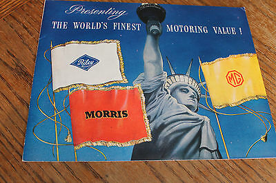 1952 Morris, MG, Riley full line COLOR SALES BROCHURE!!, huge !!!