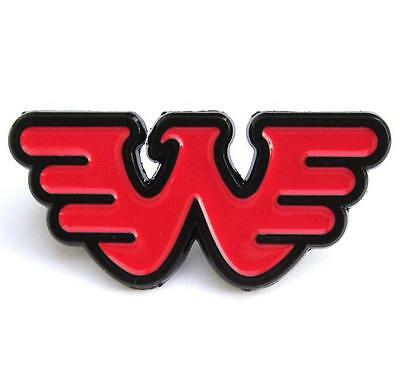 Waylon Jennings PIN - Rare Solid Red Logo Black Plated Outlaw Country non-cd