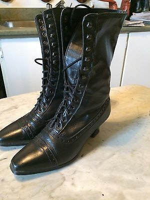 Vtg '1980 victorian style steampunk granny gothic laced womens boots sz 8