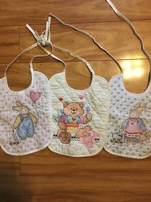 3pc lot vintage Baby Infant Hand embroidered Quilted Bibs Rabbit_Good Night_Dog