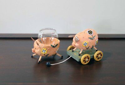 Vintage Metal Pig Candleholder and Pull Toy