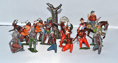 15 Metal Old Toy Indians and Cowboys
