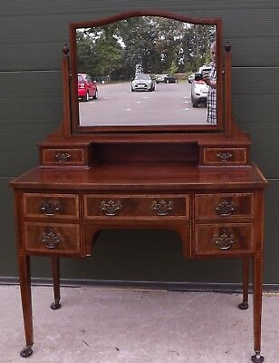 Antique Edwardian Inlaid Mahogany Dressing Table With Mirror